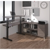 Bestar Pro-Linea L-Desk including Electric Height Adjustable Table in Bark Gray