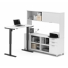 Bestar Pro-Linea L-Desk with Hutch including Electric Height Adjustable Table in White