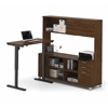 Bestar Pro-Linea L-Desk with Hutch including Electric Height Adjustable Table in Oak Barrel