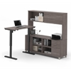 Bestar Pro-Linea L-Desk with Hutch including Electric Height Adjustable Table in Bark Gray