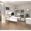 Bestar Pro-Linea U-Desk with hutch in White