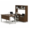 Bestar Pro-Linea U-Desk with hutch in Oak Barrel