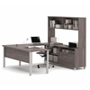Pro-Linea U-Desk with hutch in Bark Gray