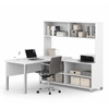 Pro-Linea L-Desk with hutch in White