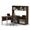 Pro-Linea L-Desk with hutch in Oak Barrel