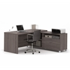 Bestar Pro-Linea L-Desk in Bark Gray