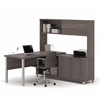 Pro-Linea L-Desk with hutch in Bark Gray