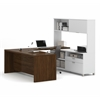 Bestar Pro-Linea U-Desk with hutch in White & Oak Barrel