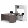 Pro-Linea U-Desk with hutch in White & Bark Gray