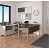 Bestar Pro-Linea U-Desk in White & Oak Barrel