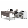 Bestar Pro-Linea U-Desk in White & Bark Gray