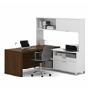 Bestar Pro-Linea L-Desk with hutch in White & Oak Barrel