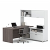 Pro-Linea L-Desk with hutch in White & Bark Gray