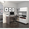 Bestar Pro-Linea L-Desk with hutch in White & Bark Gray