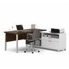 Bestar Pro-Linea L-Desk in White & Oak Barrel