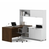 Pro-Linea L-Desk with hutch in White & Oak Barrel