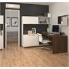 Bestar Pro-Linea L-Desk with hutch in White & Oak Barrel