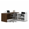 Bestar Pro-Linea L-Desk in White & Oak Barrel