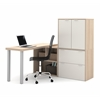 Bestar i3 by Bestar L-Shaped desk in Northern Maple and Sandstone
