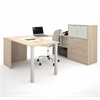 Bestar i3 by Bestar U-Shaped desk in Northern Maple and Sandstone