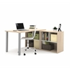 i3 L-Shaped desk in Northern Maple and Sandstone