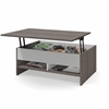 Bestar Small Space 37-inch Lift-Top Storage Coffee Table in Bark Gray and White