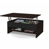 Bestar Small Space 37-inch Lift-Top Storage Coffee Table in Dark Chocolate and Black