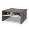 Bestar Small Space 29.5-inch Storage Coffee Table in Bark Gray and White