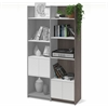 Bestar Small Space 19.5-inch Add-on Storage Tower in Bark Gray and White