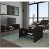 Bestar Small Space 2-Piece Storage Coffee Table and TV Stand Set in Dark Chocolate and Black