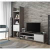 Bestar Small Space 2-Piece TV Stand and Storage Tower Set in Bark Gray and White
