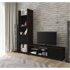 Bestar Small Space 2-Piece TV Stand and Storage Tower Set in Dark Chocolate and Black