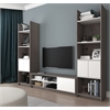 Bestar Small Space 3-Piece TV Stand and 2 Storage Towers Set in Bark Gray and White