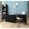 Bestar Small Space 2-Piece Sliding Computer Desk and 20-inch Storage Tower Set in Dark Chocolate and Black