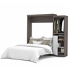 "Bestar Nebula by Bestar 90"" Queen Wall bed kit in Bark Gray & White"