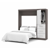 "Bestar Nebula by Bestar 84"" Full Wall bed kit in Bark Gray & White"