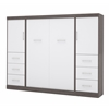 """Bestar Nebula by Bestar 109"""" Full Wall bed kit in Bark Gray & White"""
