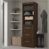 "Bestar Pur by Bestar 25"" storage unit with 3-drawer set in Chocolate"