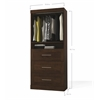 "Pur 36"" storage unit with 3-drawer set in Chocolate"