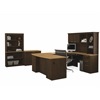 Bestar Hatley by Bestar U-Shaped Workstation with Lateral file and Bookcase in Maple & Chocolate