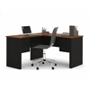 Bestar Somerville L-Shaped desk in Black & Tuscany Brown