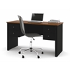 Somerville Workstation with two pedestals in Black & Tuscany Brown