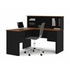 Bestar Somerville L-Shaped desk with hutch in Black & Tuscany Brown