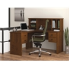 Bestar Somerville L-Shaped desk with hutch  in Tuscany Brown