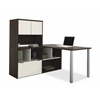 Bestar Contempo L-Shaped desk with hutch in Tuxedo & Sandstone