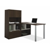 Bestar Contempo L-Shaped desk with hutch in Tuxedo