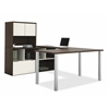 Bestar Contempo U-Shaped desk with hutch in Tuxedo & Sandstone