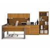 Bestar Executive U-shaped workstation with lateral file and bookcase in Cappuccino Cherry & Slate