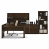 Executive U-shaped workstation with lateral file and bookcase in Chocolate