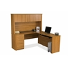 Embassy L-shaped workstation kit in Cappuccino Cherry